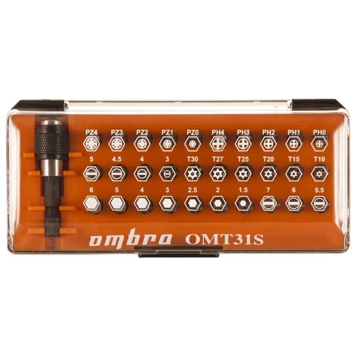"""Набор бит 1/4"""" SL;PH;PZ;TORX;HEX +магнитный держатель, пластиковая упаковка, 31ед., OMBRA,  OMT31S"""