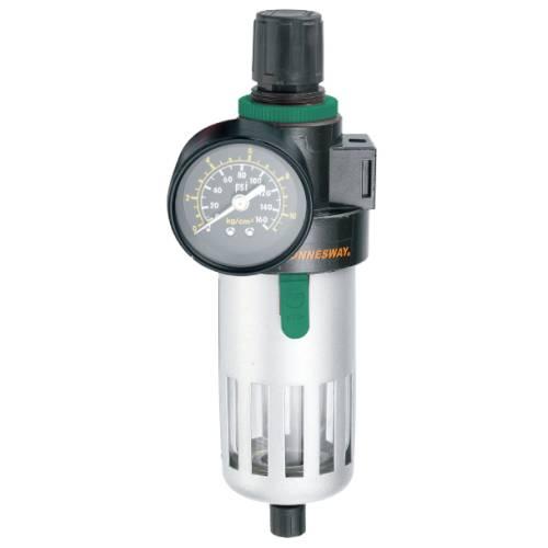 """Фильтр (влагоотделитель) с регулятором давления для пневматики 3/8"""", 1350 л/мин, калибр фильтра 5 микрон, JAZ-0533"""