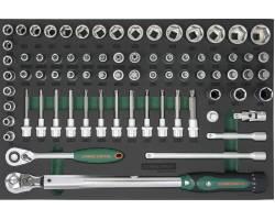"Набор инструментов 75 единиц, 1/2""DR Головки и аксессуары, динамометрический ключ. EVA ложемент, S04H4075SV"