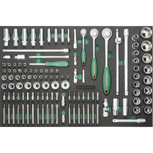 """Набор инструментов 121 единица, 1/4"""",3/8"""",1/2""""DR Головки, биты, и аксессуары. EVA ложемент, S04H45121SV"""