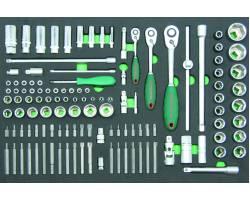 """Набор инструментов 121 единица, 1/4"""",3/8"""",1/2""""DR Головки, биты, и аксессуары. EVA ложемент, S04H46121SV"""