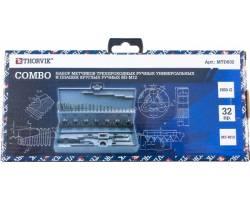 Набор метчиков трехпроходных ручных универсальных и плашек круглых ручных серий COMBO М3-М12, HSS-G, 32 предмета, MTDS32