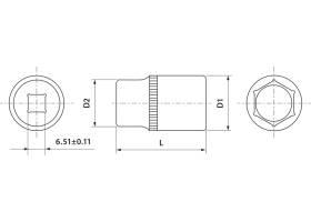 """Головка торцевая 1/4""""DR, 6 мм, FS01406"""