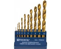 Набор спиральных сверл по металлу HSS TiN в пластиковом кейсе, d1.0-10.0 мм, 10 предметов, TDBS10