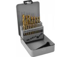 Набор спиральных сверл по металлу HSS TiN в металлическом кейсе, d1.0-10.0 мм, 19 предметов, TDBS19