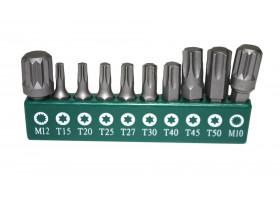 "Биты, 10 штук, в держателе для набора S04H624101S: 8шт- 1/4""DR.TORX: T15,T20,T25,T27,T30,T40,T45,T50; 2шт- SPLINE:M10,M12, S04H624101S-B1S"