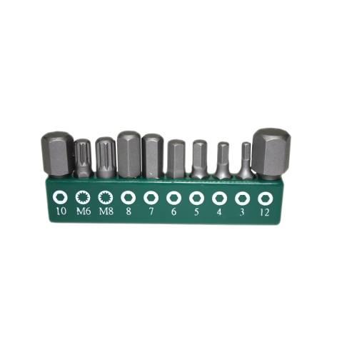 """Биты, 10 штук, в держателе для набора S04H624101S: 8шт- 1/4""""DR. HEX: 3,4,5,6,7,8,10,12MM; 2шт- SPLINE:M6,M8, S04H624101S-B2S"""