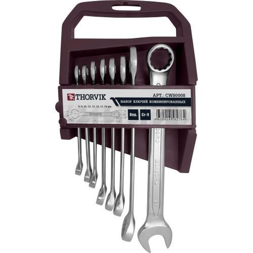Набор ключей комбинированных на пластиковом держателе 8-19 мм, 8 предметов, CWS0008
