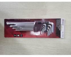 Комплект угловых ключей TORX экстра длинных  (EXTRA LONG)  T10, T15, T20, T25, T27, T30, T40, T45, T50, 9 предметов, TKL9S