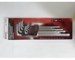 Комплект угловых ключей TORX экстра длинных  (EXTRA LONG) с центророванным штифтом  T10, T15, T20, T25, T27, T30, T40, T45, T50, 9 предметов, TTKL9S