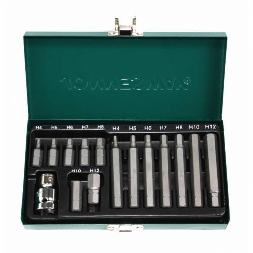 Набор вставок (бит) шестигранных (30 и 75 мм) 4-12 мм, 15 предметов, S29H4115S