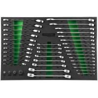 Набор комбинированных, разрезных, трещоточных ключей, адаптеров, 39 предметов в EVA ложементе 560х400 мм., W60246139SV