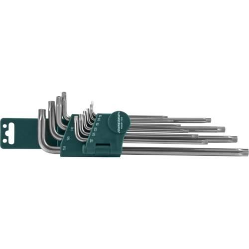 """Комплект угловых ключей  """"TORX"""" с центрированным штифтом EXTRA LONG Т9-Т50, 10 предметов S2 материал, H08S110S"""