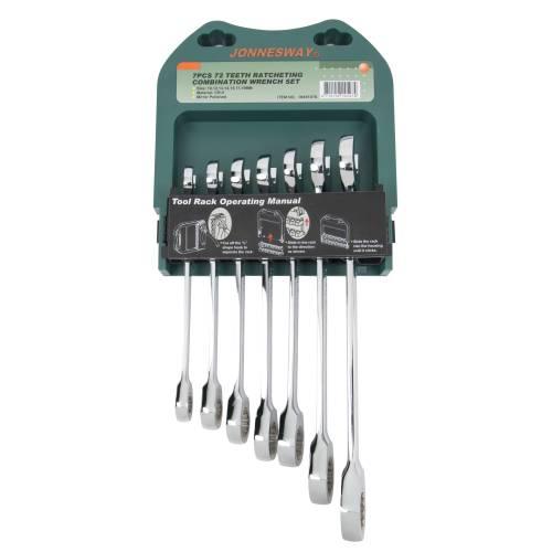 W45107S Набор ключей комбинированных трещоточных, 10-19мм, 72 зуба, 7 предметов