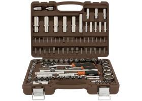 """Набор инструмента торцевые головки 4-32мм 1/4"""" и 1/2""""DR и аксессуары к ним, 108 предметов, OMT108S"""