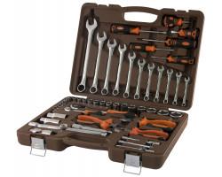 """Универсальный набор инструмента торцевые головки 4-32мм 1/4"""" и 1/2""""DR и аксессуары к ним, комбинированные ключи 8-22мм, отвертки 6шт, бокорезы, пассатижи, длинногубцы,  55пр, OMT55S"""