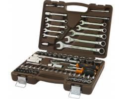 """Набор инструмента торцевые головки 4-32мм 1/4"""" и 1/2""""DR и аксессуары к ним, комбинированные ключи 8-22мм, 82 предмета, OMT82S"""