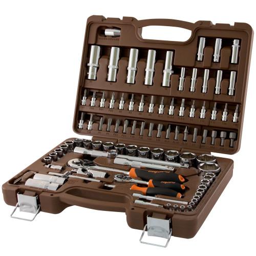 """Набор инструмента торцевые головки 4-32мм 1/4"""" и 1/2""""DR и аксессуары к ним, 94 предмета, OMT94S"""